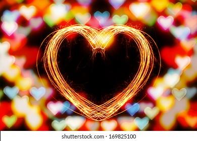 Valentines Day -  Hard Shape sparkler firework  alphabet with bokeh light