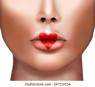 Valentines Day Heart Kiss on the Lips. Lipstick Love Makeup. Beauty Sexy Lips with Heart Shape paint.