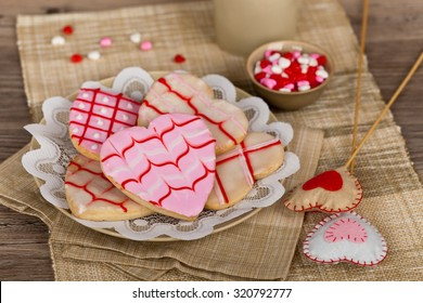 Valentines Day heart shaped cookies. Selective focus.