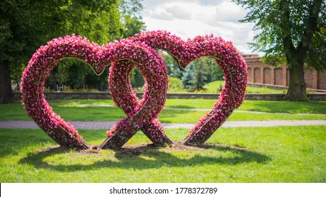Valentines Day Heart. Two hearts shape made from natural flowers. Connected hearts as a love symbol. Entwined hearts