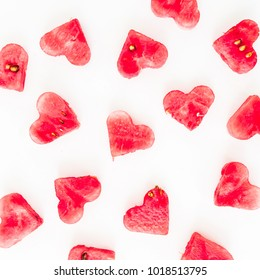 Valentine's day hearts pattern made of watermelon on white background. Flat lay, top view.