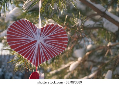 Valentine's day holiday. Romantic mood. The scenery of the outdoors hearts. Place for couples. On the street.