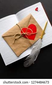 Valentine's Day. The inscription in the notebook I love you and the heart,
