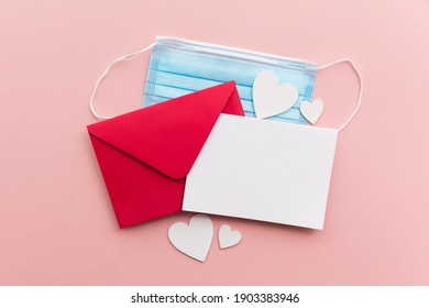Valentine's day lockdown love letter with protective coronavirus face mask