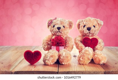 Valentines Day. Love heart. Teddy bear holding a heart-shaped