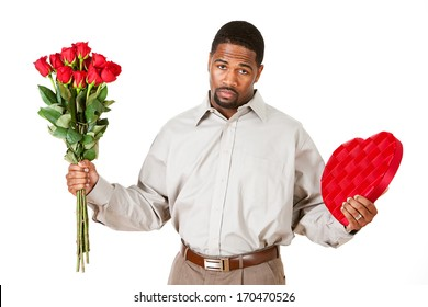 Valentine's Day: Man Apologizing with Candy and Flowers.