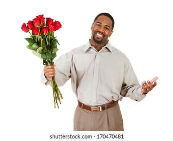 Valentine's Day: Man Holding Rose Bouquet.