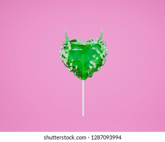 Valentine's day minimal concept: red heart-shaped lollypop hardcandy with horns on blue background.