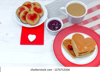 Valentine's Day. morning breakfast with coffee and pancakes