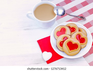 Valentine's Day. morning breakfast with coffee and cheese