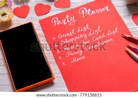 valentines day party planner list note stock photo edit now