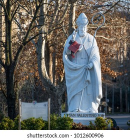 Valentine's Day patron of Terni city of Italy. statue of the hol