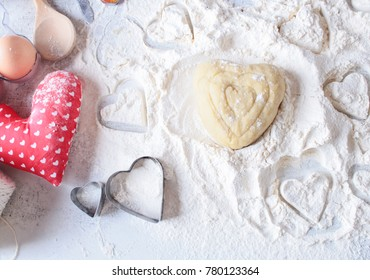 Valentine's Day .process of cooking gingerbread.Bake sweet cake dessert concept. Top view