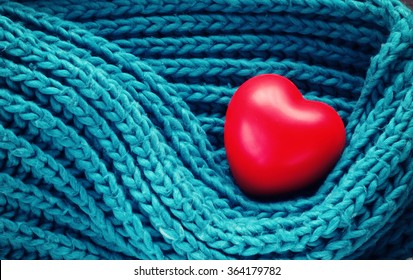 Valentine's Day red heart on turquoise warm scarf