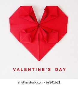 Valentine's Day Red Heart on Grey Paper Origami Card
