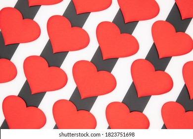 Valentine's day red hearts on a black and white background car as a gift