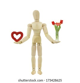 Valentines Day Red Roses Heart Tulip Floral Arrangement Lips Cookie with Te Quiero (Castellano Spanish for I Love You) Glass Vase Adult male wood mannequin isolated on white background