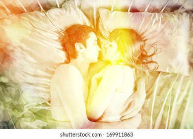 Valentine's Day. Romantic dreams. Young couple sleeping in a bed