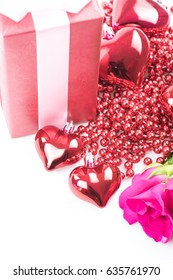 valentine`s day with roses and gift on white background.