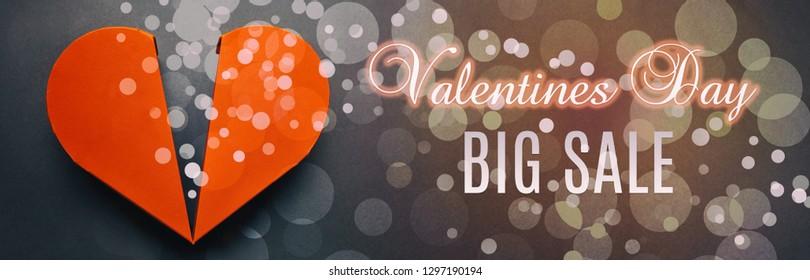 Valentines day sale banner design with big red heart. Valentines day big sale. Online Sales Concept.