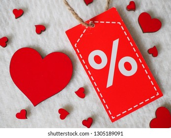 Valentine's Day sale, promotion, red hearts and valentine discount label