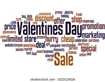 Valentines day sale word cloud concept on white background.