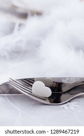 Valentines day table. Plate with  hearts. Valentine's day dinner.St. Valentine table setting