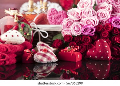 Valentines day theme. Valentines day heart and gift box, roses, spa present