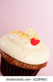 Valentine's Day Vanilla Cupcake on Colorful Background