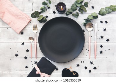 Valentines day  or wedding meal background. Romantic holiday table setting. Restaurant concept. Flat lay