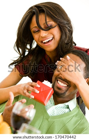 Valentines Day Woman Surprising Man Wrapped Stock Photo Edit Now
