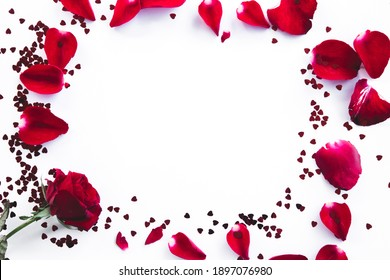 Valentine's Day.Heart composition. Round frame made of little heart,Valentines day background with copy space