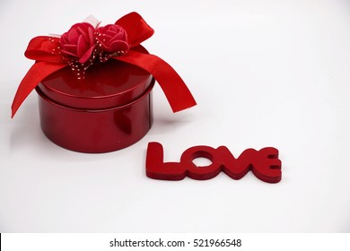 Valentines gift box and love letter on white background