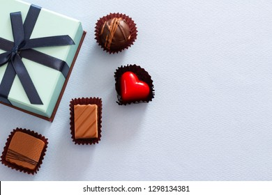 Valentine's gift image of chocolate and blue box