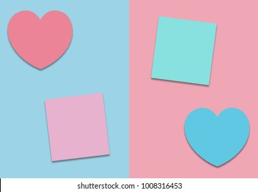 Valentines heart concept and paper notes in pastel color with copy space minimal style