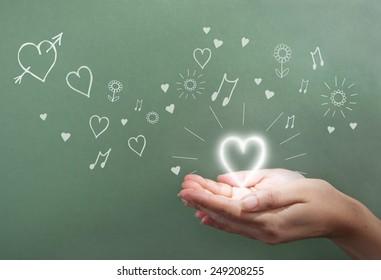 Valentines heart glow