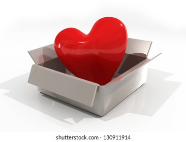 Valentines heart. red heart in a box