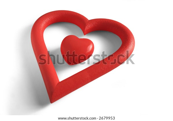 A Valentine's heart within a heart-shaped frame in white background