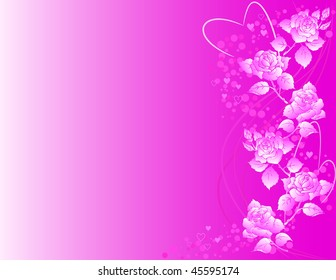 Valentine's pink background with roses and heart shapes. Raster version of vector.