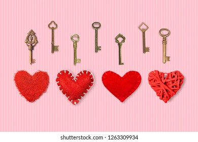 Valentines unlock love concept. Red heart with many different metallic keyes.Valentines day, dating concept. choosing the right from a variety of important. Right choice.Copy space