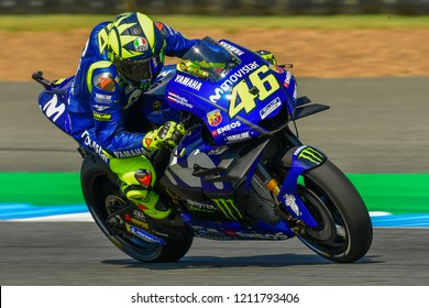 Valentino Rossi of Italy and Movistar Yamaha MotoGP in action during the Free Practice The PTT Thailand Grand Prix - MotoGP at Chang International Circuit on October 5, 2018 in Burirum ,Thailand