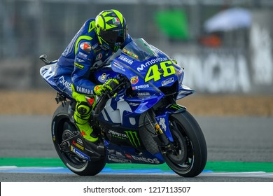 Valentino Rossi no.46 of Italy and Movistar Yamaha MotoGP  in qualifying during The PTT Thailand Grand Prix - MotoGP at Chang International Circuit on October 6, 2018 in Burirum ,Thailand