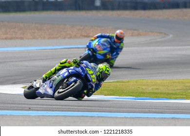 Valentino Rossi no.46 of Italy and Movistar Yamaha MotoGP  in action during The PTT Thailand Grand Prix - MotoGP at Chang International Circuit on October 7, 2018 in Burirum ,Thailand