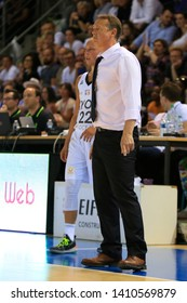 Valery Demory head coach of Lyon and Julie Allemand of Lyon during Women's French championship Final game 5 basketball Lyon ASVEL vs Montpellier on 5, 23, 2019 Mado Bonnet Hall Lyon France