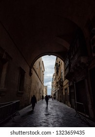 Valetta, Malta - February 24, 2019: Old street with arch