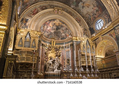VALETTA, MALTA - MAY 21, 2015: St Johns cathedral in Valetta, Malta. Built in honour of saint John the Baptist between 1572 and 1577