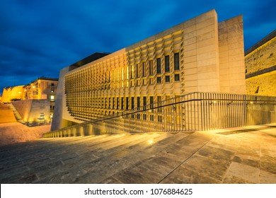 Valetta,Malta - March 2018: Beautiful architecture illuminated Parliament at evening,Malta.
