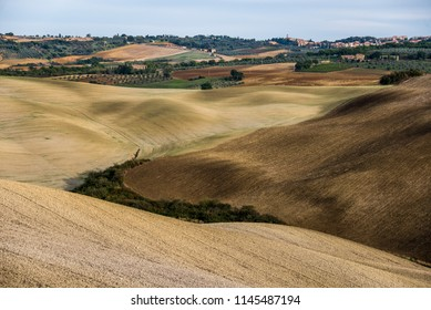 Valeys in Tuscany used for agriculture in the autumn