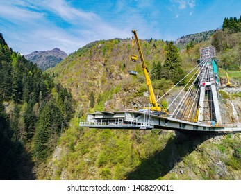 Valgerola - Valtellina (IT) - Panoramic aerial view of the cable-stayed bridge under construction - 2017
