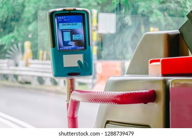 Validator in the city bus for paying using  cards, Public transport